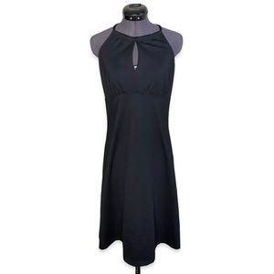 Prana Halter Neck Keyhole Midi Black Tie Dress